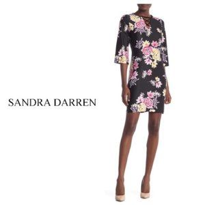 Sandra Darren Black 3/4 Sleeve Shift Dress Sz 14